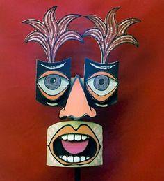 Hand-crafted art masque Cardboard Sculpture, Cardboard Art, Sculpture Art, Face Collage, Masks Art, Clay Masks, Kids Art Class, School Art Projects, Paperclay