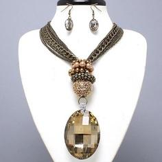 Art Deco Vintage Runway Smoke Topaz Chunky Glass Pearl Bib Necklace Set Jewelry
