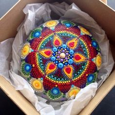 ⊰❁⊱ Mandala ⊰❁⊱ Plucked from beautiful Lawrencetown Beach, Nova Scotia, this beach stone has been hand-painted with hundreds of colourful dots and it is one of the Dot Art Painting, Mandala Painting, Pebble Painting, Pebble Art, Mandala Art, Stone Painting, Stone Crafts, Rock Crafts, Diy Crafts