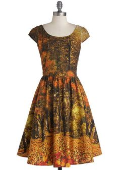 Sights to Season Dress - Multi, Orange, Brown, Casual, A-line, Cap Sleeves, Fall, Better, Scoop, Cotton, Woven, Novelty Print, Fit & Flare, Long