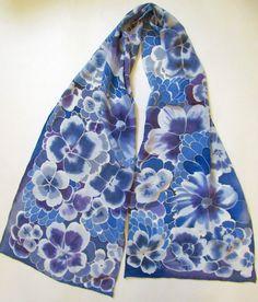 Silk Scarf. Hand painted dark blue Silk Scarf by OlgaGorbunovaArt