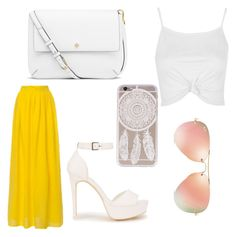"""""""A pop of yellow"""" by maryoneal on Polyvore featuring Topshop, Nly Shoes, Tory Burch and Ray-Ban"""