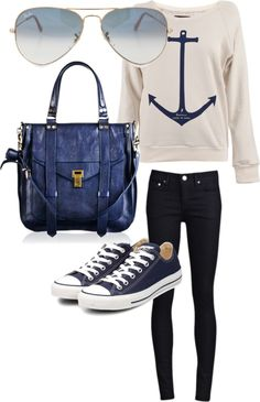 royal sailor, created by madatmadi on Polyvore  - I don't wear skinny jeans, but I do like this outfit! :)