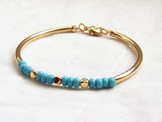 Czech Turquoise Beaded Bracelet with Gold by smallbluethings, $22.00