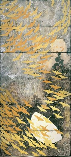 "taishou-kun: ""Kayama Matazo 加山 又造 (1927-2004) A thousand cranes 千羽鶴 - pair of six-fold screens - The National Museum of Modern Art, Tokyo, Japan - 1970 "":"