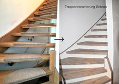 Offene Treppe schließen Open wooden stairs close with vinyl steps and white risers