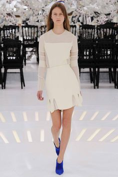 Christian Dior   Fall 2014 Couture   33 Cream long sleeve top and mini skirt