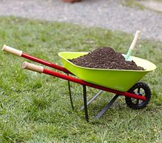 kid size wheelbarrow - gather up toys, push animals around, get stones and dump - dump kids on lawn - oh yea great fun