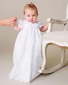 Sweet floral venise lace skims the raised waist and hem of this precious satin christening gown. set includes baptism gown and headband Color: white Fabric: polyester matte satin… White Christening Dress, Christening Gowns For Girls, White Baby Dress, Baptism Gown, Girl Baptism, Blessing Dress, Cotton Slip, Matte Satin, Occasion Wear