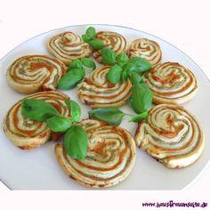Pesto-Blätterteigschnecken Diese Blätterteigschnecken sind ein echter Hingucker und sehr lecker vegetarisch
