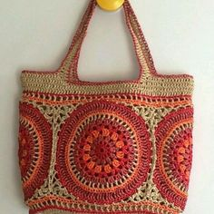Best Picture of Crochet Raffia Bag Pattern Crochet Raffia Bag Pattern Paper Raffia Mandala Bag Bag Crochet, Crochet Shell Stitch, Crochet Handbags, Crochet Purses, Love Crochet, Quick Crochet, Purse Patterns, Crochet Patterns, Crochet Mandala