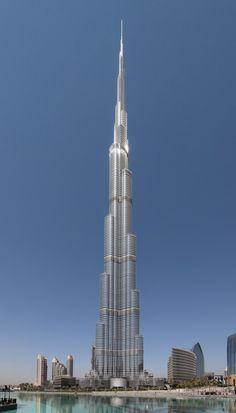 Burj Khalifa Facts - World's Tallest Building, So far Burj Khalifa is the World's tallest skyscraper. check 20 Facts of Burj Khalifa in Dubai. List Of Tallest Buildings, Famous Buildings, Dubai Buildings, Modern Buildings, Futuristic Architecture, Architecture Design, Famous Architecture, Edificio Flatiron, Famous Structures