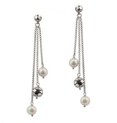 Sterling Silver 6-7MM White Round Ringed Freshwater Cultured Pearl Triple Dangle Earrings