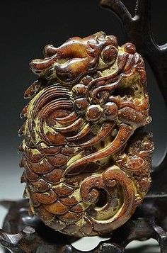 Archaize Chinese old jade carved jade Statues - Dragon toad 1151