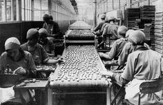 Women assembly-line workers in a Liverpool biscuit factory, 1926