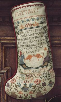 Sampler Stocking IV by Mary Beale by tibooks on Etsy, $4.50