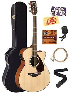 Yamaha FSX800C Small Body AcousticElectric Guitar Bundle with Hard Case Tuner Strap Instructional DVD Strings Picks and Polishing Cloth  Natural *** Check out the image by visiting the link.Note:It is affiliate link to Amazon.