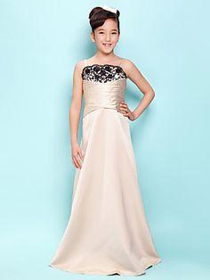 A-line Spaghetti Straps Floor-length Satin Junior Bridesmaid Dress | LightInTheBox
