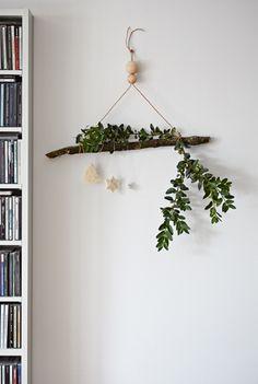Hang festive greenery indoors