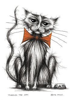 Tiddles the cat Print download Slightly scrruffy pet puss kitty moggie with grumpy miserable face and thin tail wearing orange bow tie by KeithMills on Etsy