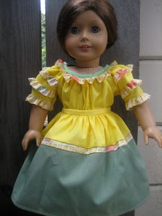 """18"""" doll dress, American Girl doll dress, yellow and green top and skirt"""