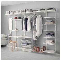 IKEA - ALGOT, Kiinnityskisko/hyllylevy/3-koukku, ALGOT-sarjan osia voi yhdistää monin eri tavoin, ja niistä on helppo luoda omiin tarpeisiin sopiva kokonaisuus.Soveltuu myös kylpyhuoneissa ja muissa kosteissa sisätiloissa käytettäväksi.Kannattimet on helppo kiinnittää ALGOT-kiinnityskiskoihin napsauttamalla. Työkaluja ei tarvita.
