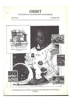 Orbit issue 22 (November 1994)  ORBIT is the official quarterly publication of The Astro Space Stamp Society, full of illustrations and informative space stamp and space cover articles, postal auctions, space news, and a new issues guide.