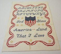 Patriotic-Finished-Cross-Stitch-Sampler-God-Bless-America-Alphabet-Land-I-Love