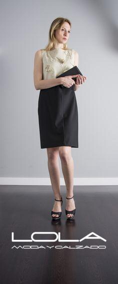Primavera con clase, primavera TWIN SET.  Pincha este enlace para comprar tu vestido en nuestra tienda on line:  http://lolamodaycalzado.es/primavera-verano/545-vestido-negro-y-beige-floral-twin-set.html