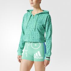 Fresh pops of colour and bold patterns define this season's adidas STELLASPORT collection. A team effort between adidas and Stella McCartney, the line puts Stella's fun, youthful spin on favourite sportswear styles.  Zip into this adidas STELLASPORT training hoodie to keep warm without overheating. Designed for a loose fit in sweat-wicking fabric, this women's sweatshirt has STELLASPORT logo printing on the front and hood.