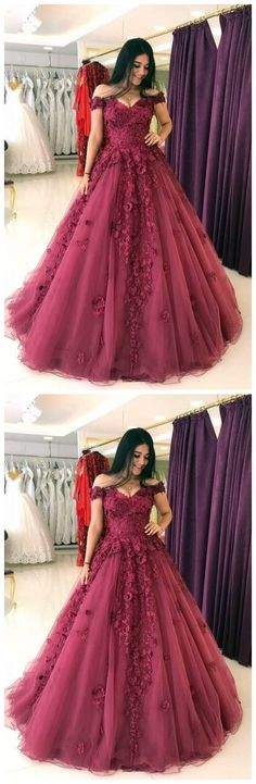 Lace Appliques Prom Dresses Ball Gowns,Tulle Quinceanera