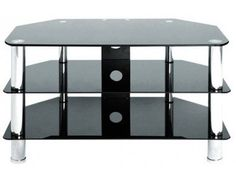 """Black Glass TV Stand with Chrome Legs for up to 37"""" TVs by LEVV .  The TV880BC is an excellent value cheap TV Stand for up to 37"""" TVs by LEVV with Chrome Legs and Black Glass Shelves that is ideal for any modern home looking for a smart item of furniture at an affordable price.   Quality assured:     Glass manufactured in compliance with British Safety Standards     3 Year Manufacturer's Warranty as Standard from LEVV Home  Dimensions:  W-800mm, H-480mm, D-450mm,  TV880BC."""