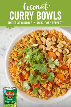 Coconut Curry Quinoa Bowls: Brighten up your day (and meal prep) with these one-pan Coconut Curry Quinoa Bowls full of fluffy quinoa, filling garbanzo beans, Del Monte® Sweet Peas (or Cut Green Beans) and Sliced Carrots. Each bite is nutrient dense and full of hearty flavor. Light coconut milk gives the dish a tropical twist while Thai red curry paste adds a kick of spicy heat. Serve with lime wedges and pack for lunch or portion out for dinner.