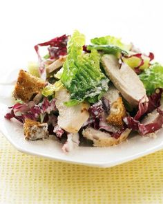 Five Approaches To Economize Transforming Your Kitchen Area Buttermilk Chicken Caesar Salad Martha Stewart Living - A Creamy, Tangy Mixture Of Low-Fat Buttermilk, Lemon Juice, Crushed Garlic, And Grated Parmesan Serves Double Duty As Marinade And Dressing Chicken Caesar Salad, Chicken Salad Recipes, Chicken Ceasar, Ceasar Salad, Chicken Salads, Fresh Chicken, Cooked Chicken, Stuffed Chicken, Tuna Salad