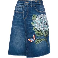 Dolce & Gabbana denim skirt ($1,365) ❤ liked on Polyvore featuring skirts, bottoms, blue, blue floral skirt, blue denim skirt, dolce gabbana skirt, button skirt and blue skirt