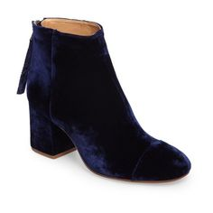 Women's Madewell Glenda Bootie (755 PLN) ❤ liked on Polyvore featuring shoes, boots, ankle booties, night vision velvet, madewell booties, ankle boots, madewell, block heel boots and bootie boots