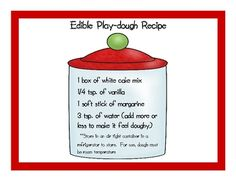 This is a recipe for edible playdough that I use for geometry. It can also be used to create letters, numbers, etc.