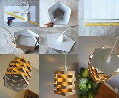 Manualidades del fin de semana: Luz de techo de cartón./ Weekend crafts: Cardboard pendant light.  #recycle design