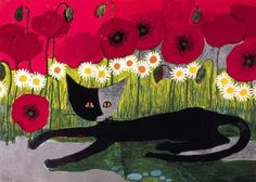 Rosina Wachtmeister is an artist from Austria who specializes in painting and making sculptures. Her paintings have a distinct style, which can be described as playful and child-like. Her art is simple and easily approachable. Cat Mouse, Modern Cross Stitch Patterns, Cat Cards, Illustrations, Traditional Art, Cat Lovers, Art Drawings, Stencil, Neon