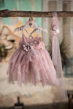 Light taupe φόρεμα βάπτισης Venti Li με κορδέλα για τα μαλλιά, annassecret, Χειροποιητες μπομπονιερες γαμου, Χειροποιητες μπομπονιερες βαπτισης