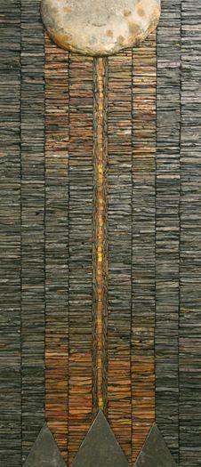 Calanais III - 122cms by 53cms (Scottish Slate & Venetian gold-leaf smalti)  by Dugald Macinnes