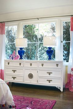 Vintage Dresser | Blue Lamps | Big Girl Room Reveal