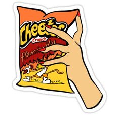 'Flaming Hot Cheetos' Sticker by genevievedesign – car stickers Preppy Stickers, Red Bubble Stickers, Food Stickers, Meme Stickers, Tumblr Stickers, Phone Stickers, Diy Stickers, Printable Stickers, Batman Stickers