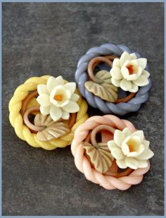 Wonderful Weeber buttons - Vintage Celluloid Floral, Easter Basket style.