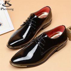 Patent leather men's business shoes - Men Oxfords Lace-Up - Men Wedding Shoes - big shoe US size 11 black white red