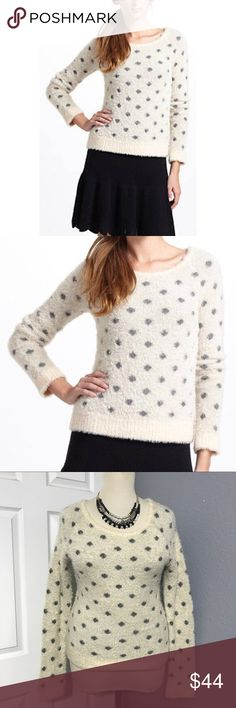 """🌹{Anthropologie} MOTH Wool Polka Dot Sweater L FEATURES:  🔘Brand: MOTH 🔘soft fuzzy material 🔘crew neckline  ITEM SPECIFICS:  🔘Length: 24"""" 🔘Bust: 44-48"""" 🔘Color: cream, grey 🔘Fabric: nylon, wool 🔘Condition: EUC  🔴NOTE: all measurements are approximate and color in photo could vary slightly due to lighting  ❌No trades ✔️Reasonable offers accepted ✔️Fast shipping - same day/next day  🚭Pet free/smoke free home. Anthropologie Sweaters Crew & Scoop Necks"""