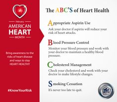 Learn about the ABCs of heart health and how to reduce your risk of developing heart disease - Infographic Lower Your Cholesterol, Cholesterol Levels, Organization Websites, Heart Attack Symptoms, Heart Pump, Type 1 Diabetes, Feel Tired, Heart Health, Heart Disease