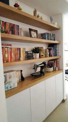 Living Room Shelves, Home Living Room, Living Room Designs, Living Room Decor, Home Office Design, Home Office Decor, House Design, Home Decor, Home Libraries