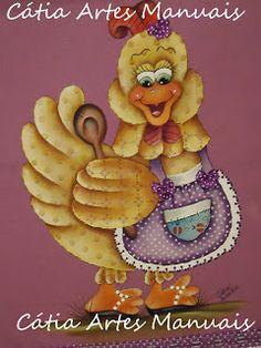 Catia Artes Manuais: Pintura em tecido galinha em estilo patchwork