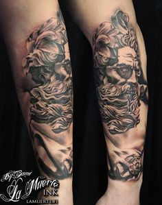 Poseidon statue tattoo by Sami Haataja @ La Muerte Ink